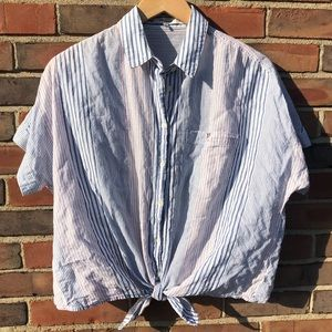 Madewell Striped Button-Up Top w/ Tie Front Medium